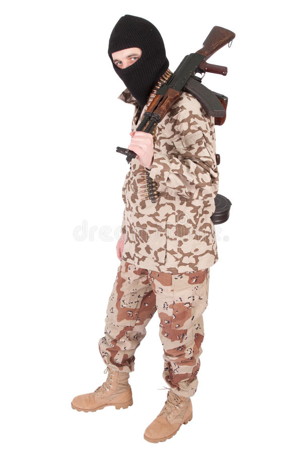 Soldier with AK rifle royalty free stock photos