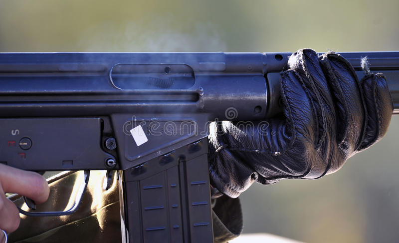 Soldier With Automatic Rifle Stock Photos