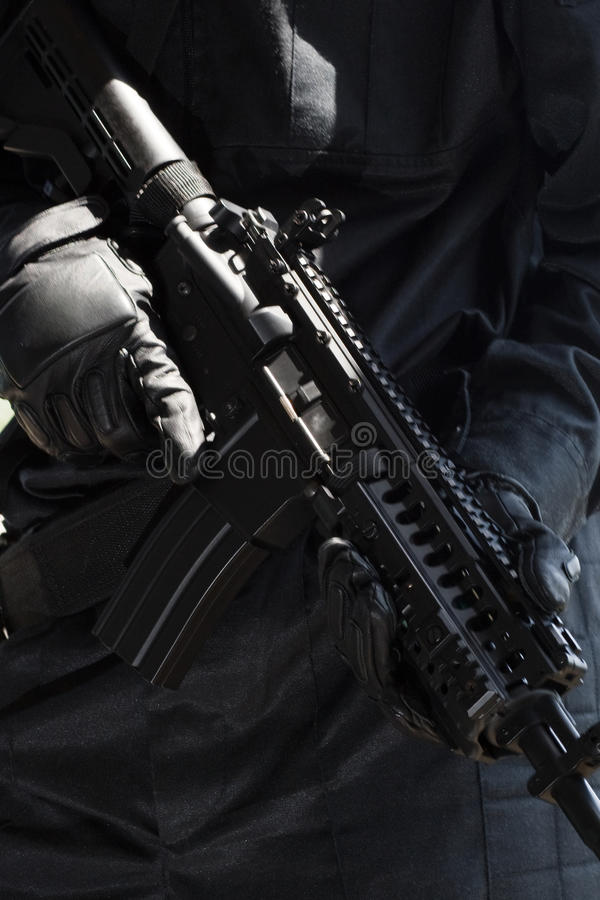 Soldier with automatic rifle royalty free stock image