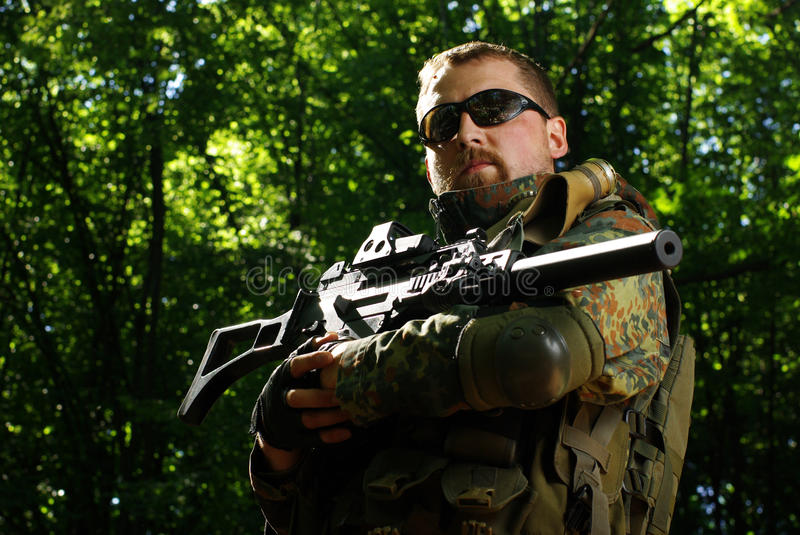 The soldier with automatic rifle