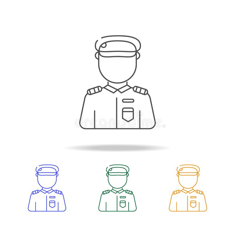 Soldier avatar multicoloured icons. Element of profession avatar of for mobile concept and web apps. Thin line icon for website d stock illustration