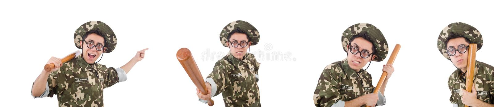 Soldier with baseball bat isolated on white stock photo