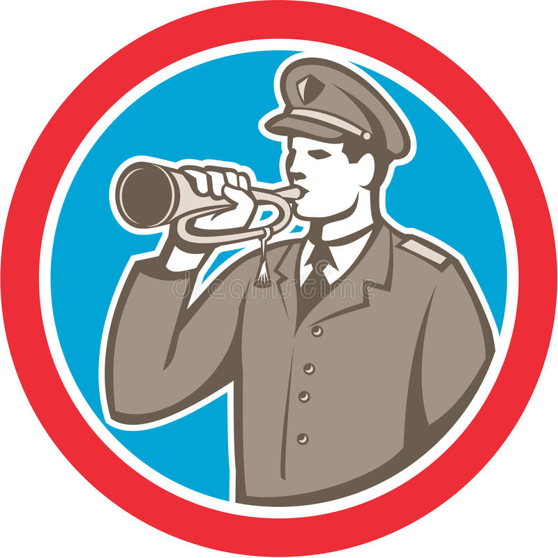 Download Soldier Blowing Bugle Circle Retro Stock Vector - Illustration: 40765981