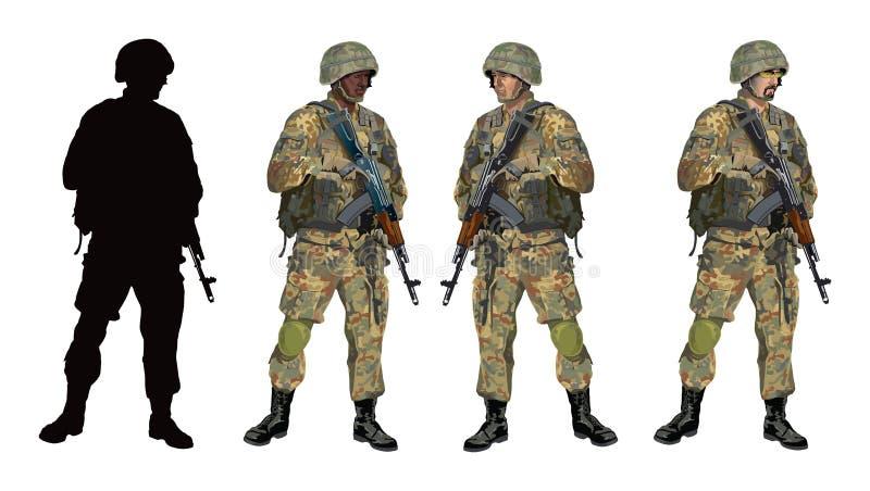 Soldier_camouflage_PART04 stock illustrationer