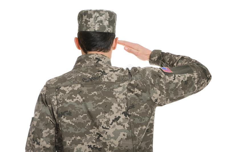 Soldier in camouflage saluting stock photography