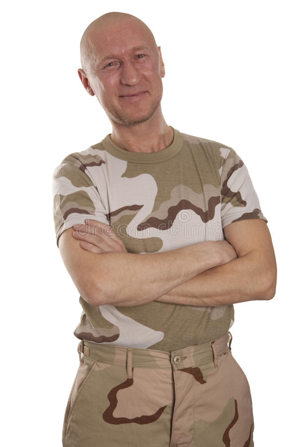 Soldier in camouflage stock images