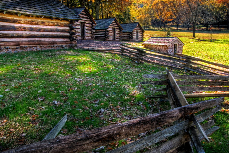 Soldier Camp Valley Forge Pennsylvania. Soldier's cabins at Valley Forge National Park, Pennsylvania stock photo