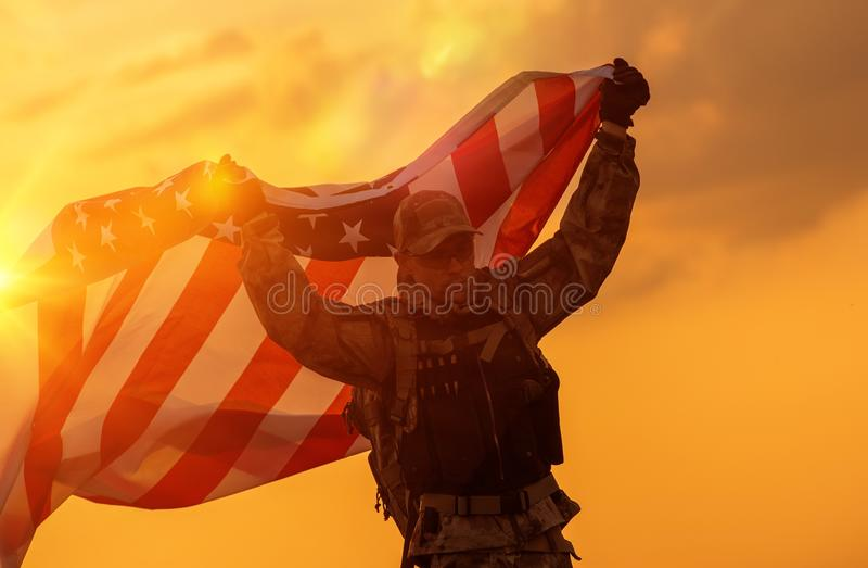 Soldier Celebrating Victory stock photography