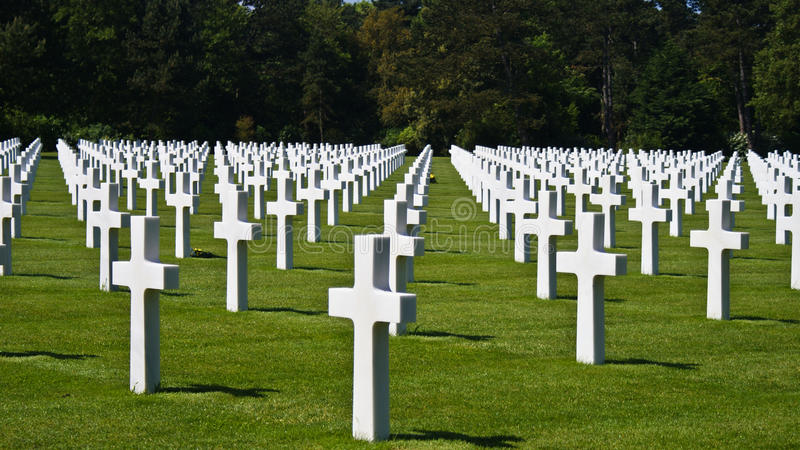 Soldier cemetery in Normandy. American and British soldiers grave in Normandy stock photography