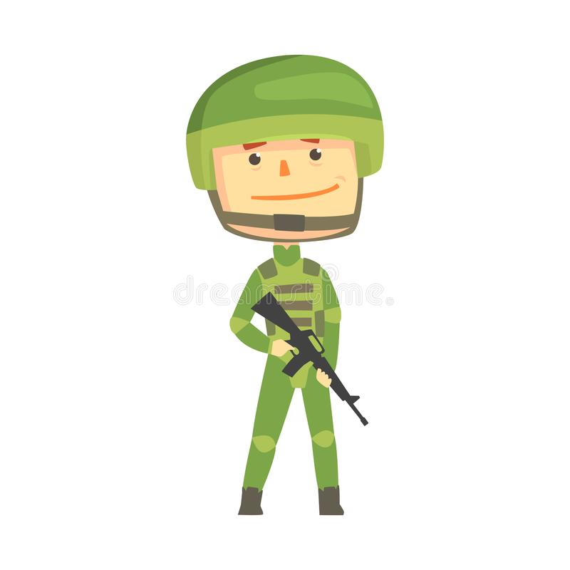 Soldier character in camouflage uniform with automatic assault rifle cartoon vector Illustration royalty free illustration