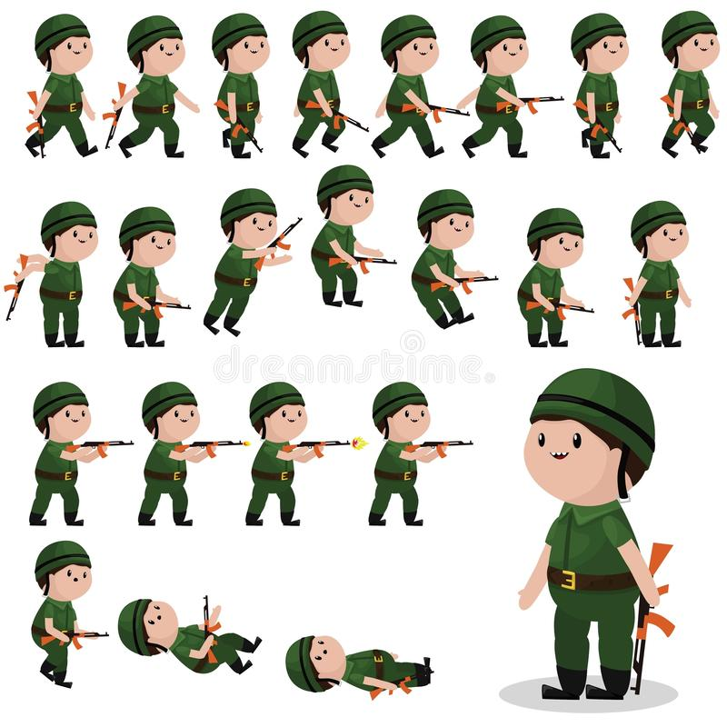 Soldier character sprites for games, animations stock illustration