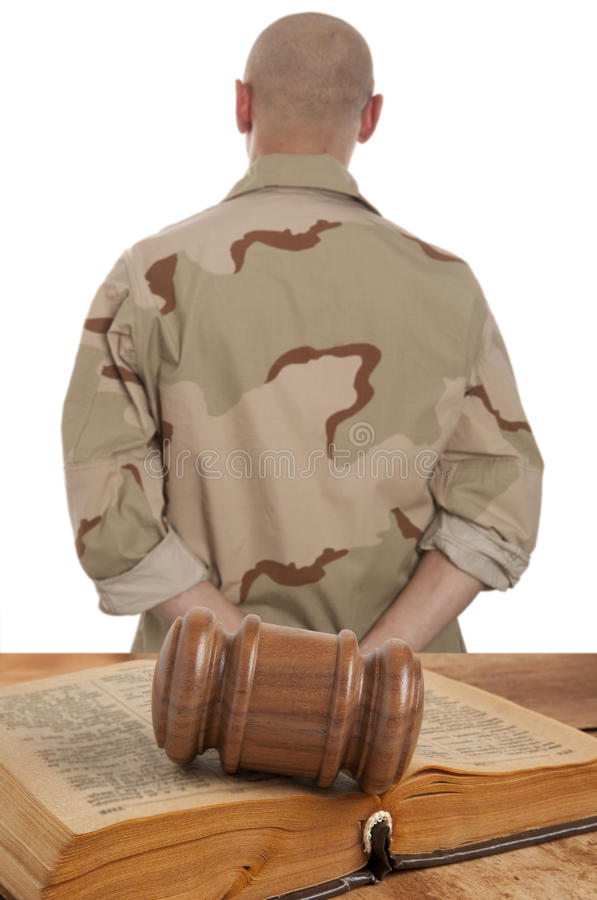 Soldier in courtroom royalty free stock photography