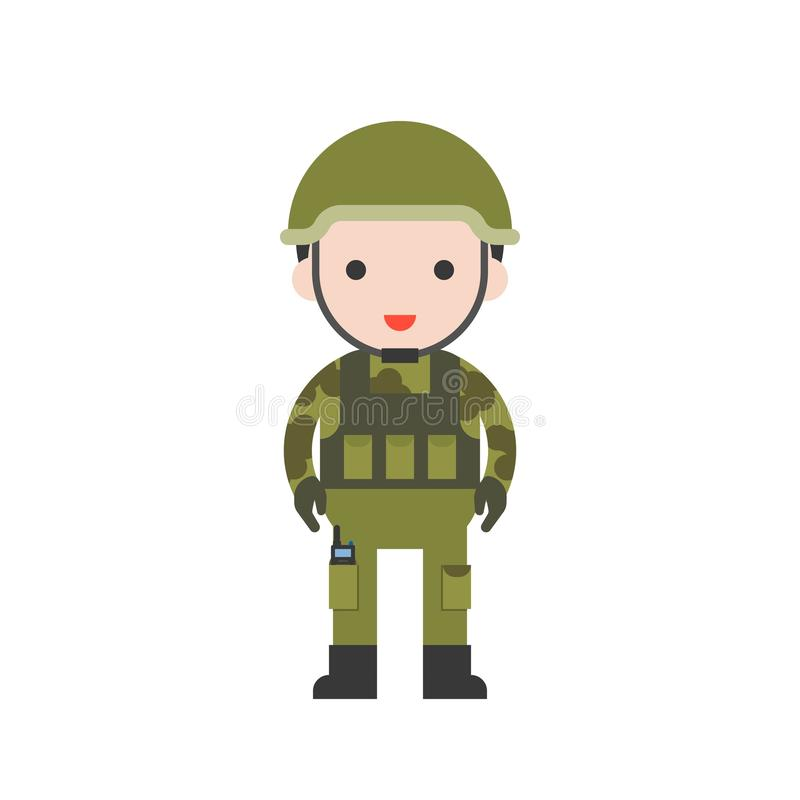 Soldier, cute character professional set, flat design stock illustration