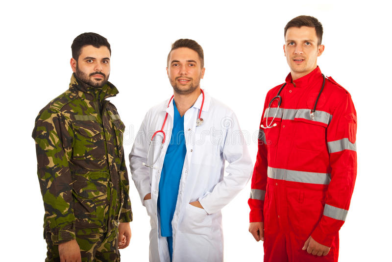 Soldier, doctor and paramedic. Men in a row isolated on white background royalty free stock images