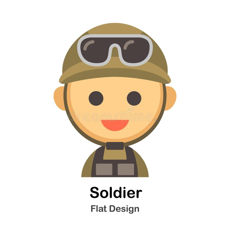 Soldier Flat Illustration. Soldier In Flat Color Design Vector Illustration vector illustration