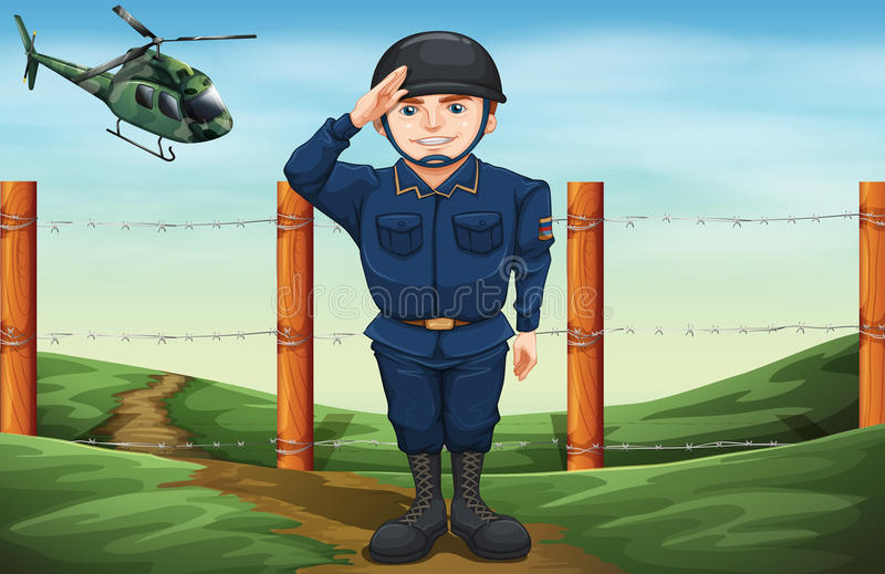 A soldier in front of the barbwire fence vector illustration