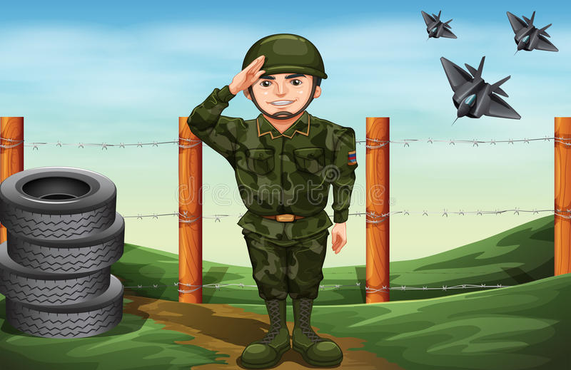 A soldier in front of the barbwire fence. Illustration of a soldier in front of the barbwire fence royalty free illustration