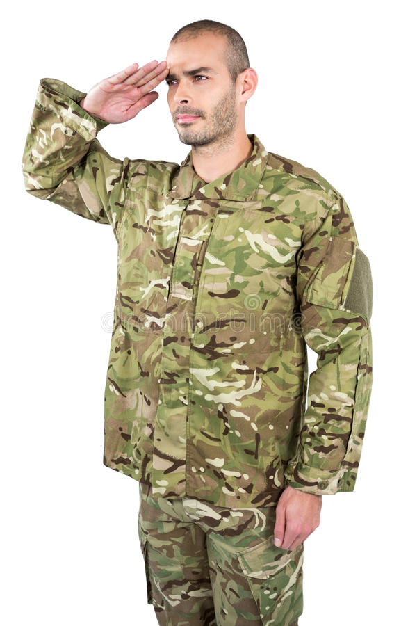 Soldier giving a salute. On white background stock photo