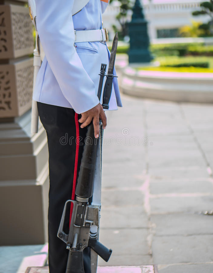 Soldier on guard. Soldier with bayonet on guard royalty free stock photos