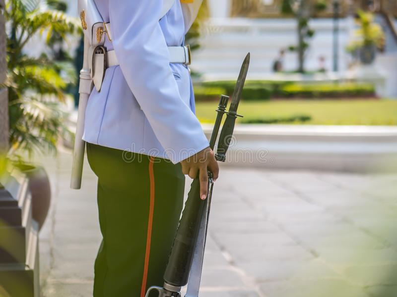 Soldier on guard. Soldier with bayonet on guard royalty free stock image