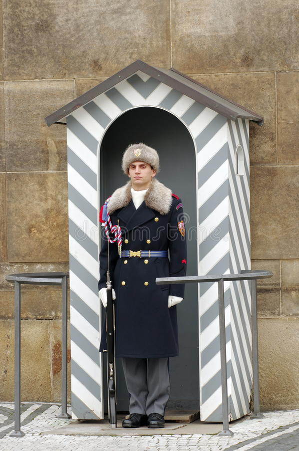 Soldier guard at the Prague Castle - landmark attraction in Prague, Czech Republic royalty free stock photo