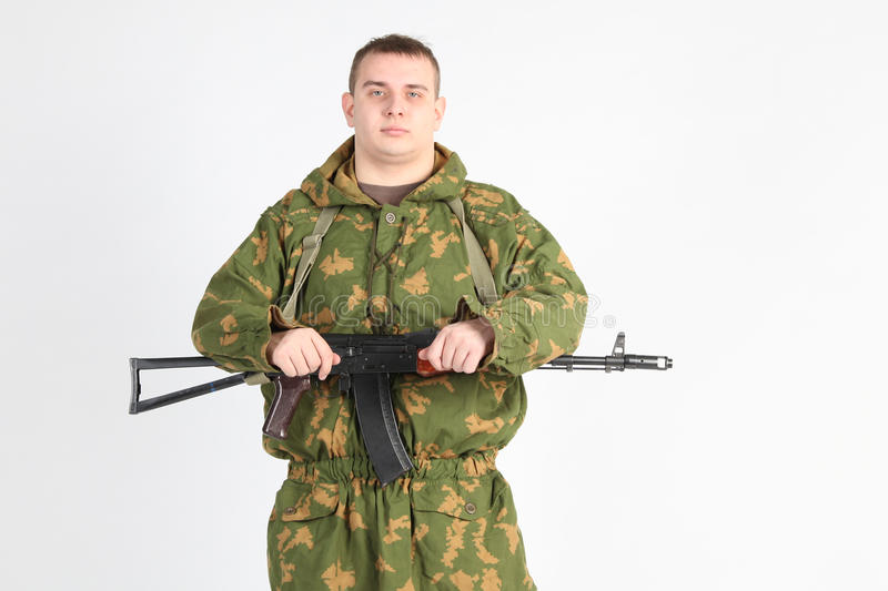 A soldier with gun stock image