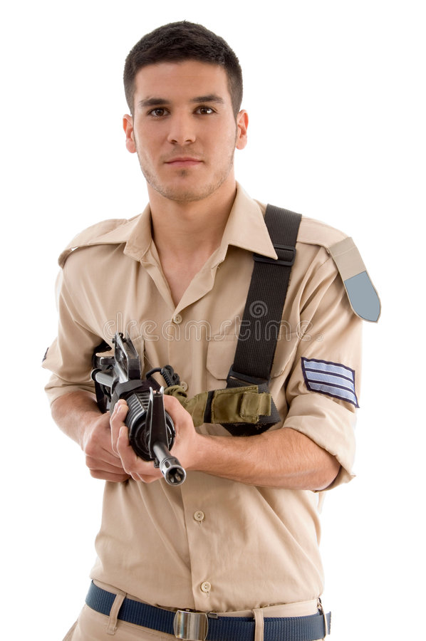 Soldier with gun in hands royalty free stock photography