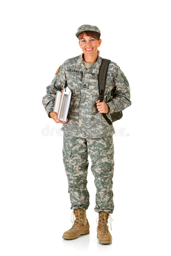 Soldier: Happy to Go Back to School royalty free stock photos