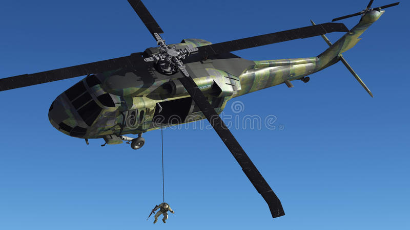 The soldier and the helicopter royalty free stock photography