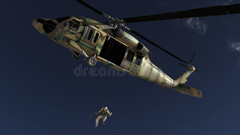 The soldier and the helicopter royalty free stock images