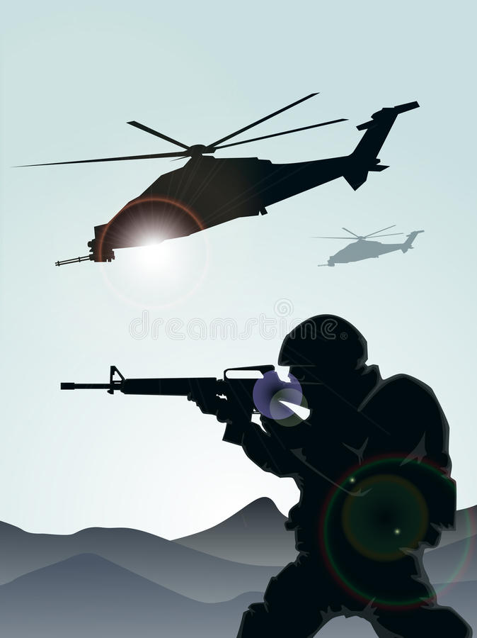 Soldier with helicopters vector illustration