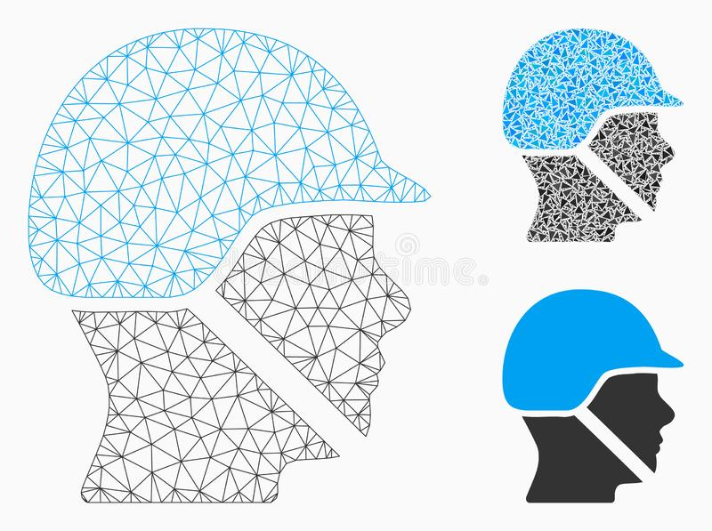 Soldier Helmet Vector Mesh Carcass Model and Triangle Mosaic Icon. Mesh soldier helmet model with triangle mosaic icon. Wire carcass triangular mesh of soldier royalty free illustration
