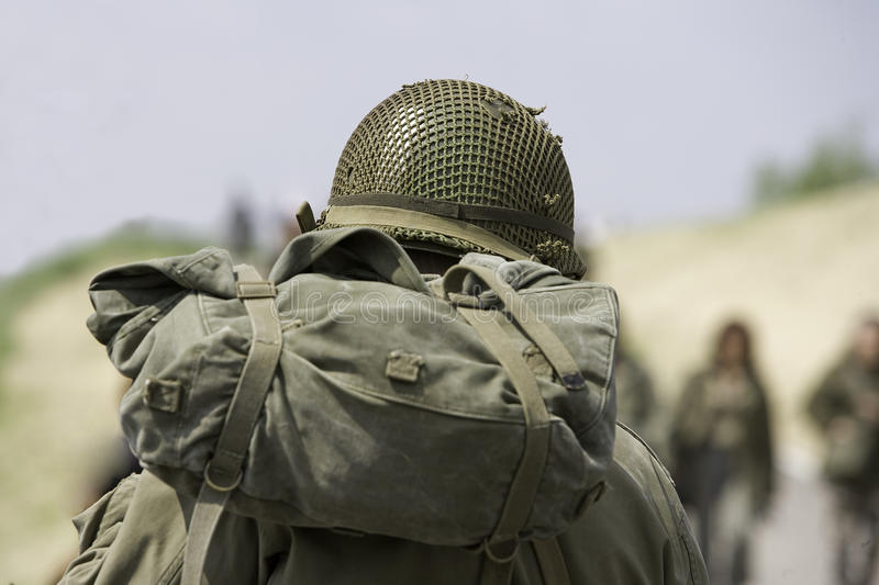 Soldier with helmet royalty free stock image