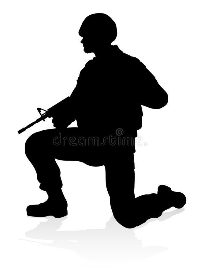 Soldier High Quality Silhouette. Detailed silhouette of military armed forces army soldier stock illustration