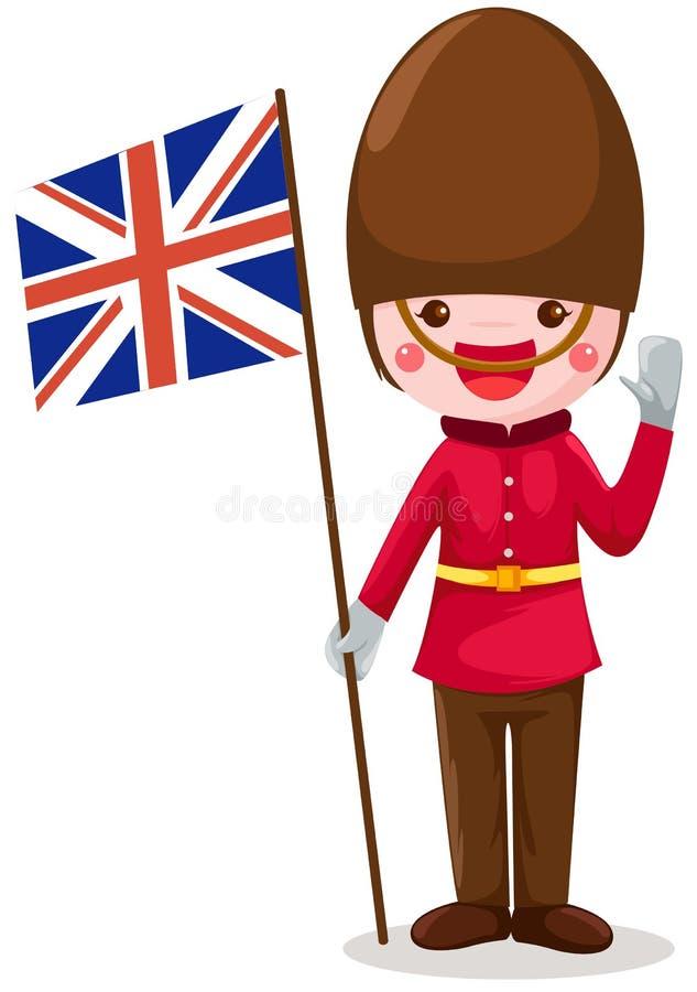 Soldier holding United kingdom flag stock illustration