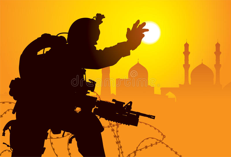 Soldier in Iraq stock illustration