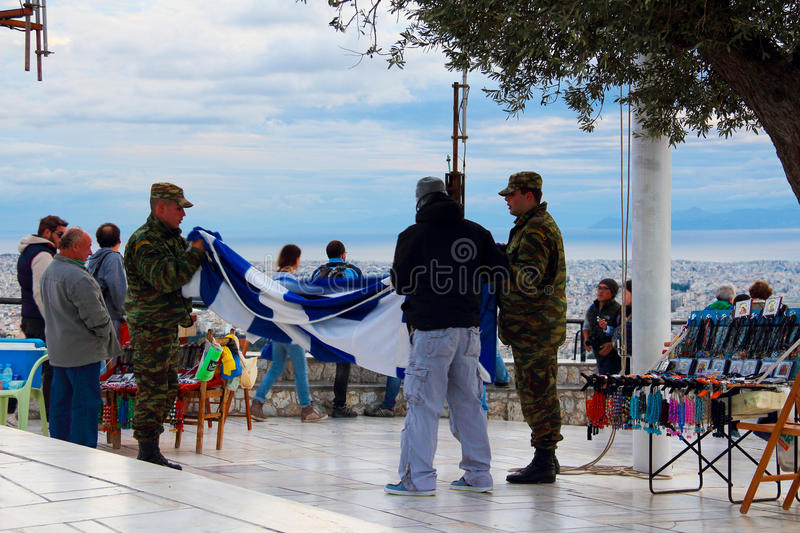 The soldier at Lycabettus Hill royalty free stock image
