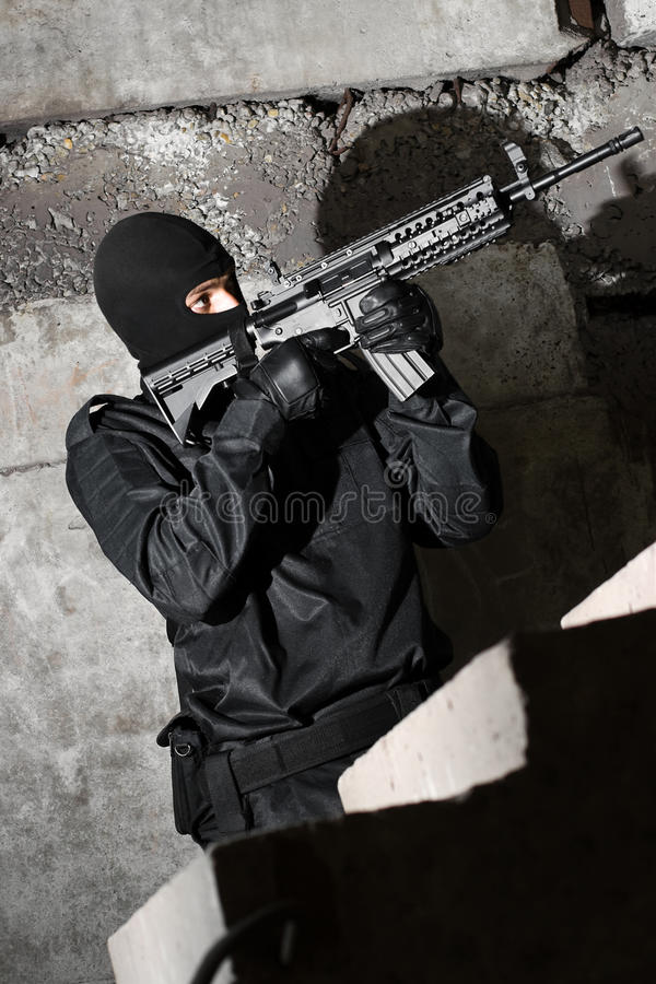Download Soldier with M-4 gun stock image. Image of forces, europe - 15471043