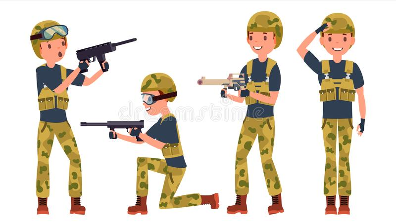 Soldier Male Vector. Poses. Silhouette. Playing In Different Poses. Man Military. War.Ready For Battle. Army. Isolated royalty free illustration
