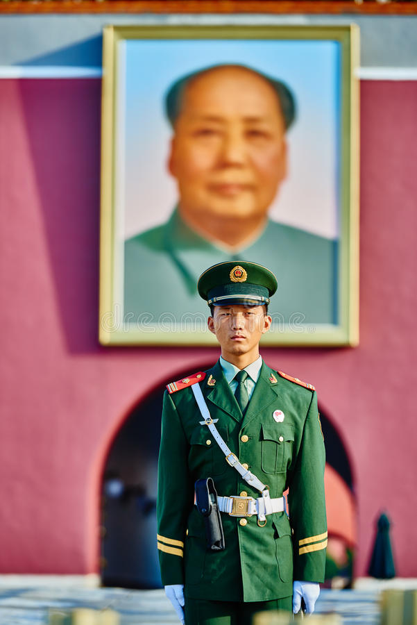 Soldier Mao Zedong Poster Tiananmen Square Forbidden City Beijing royalty free stock photography