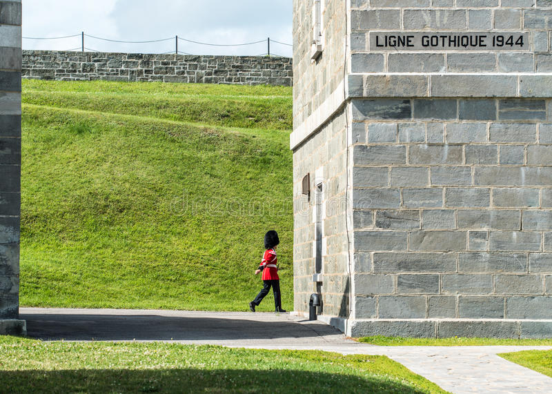 Soldier Marches at The Citadel in Quebec City. Quebec, Canada stock photography