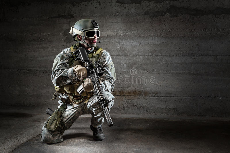 Download Soldier With Mask Rifle And Backpack Stock Photo - Image: 37398954