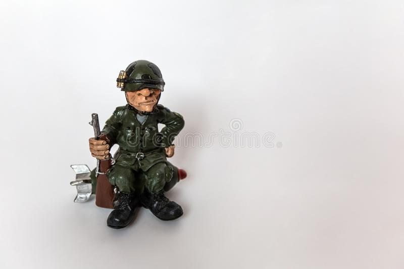 Soldier in military uniform stock image