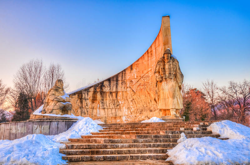 Soldier monument, Baia Mare, Romania. Beautiful stone architecture of the famous Romanian Soldier monument, heroic scene of Baia Mare, Romania stock images