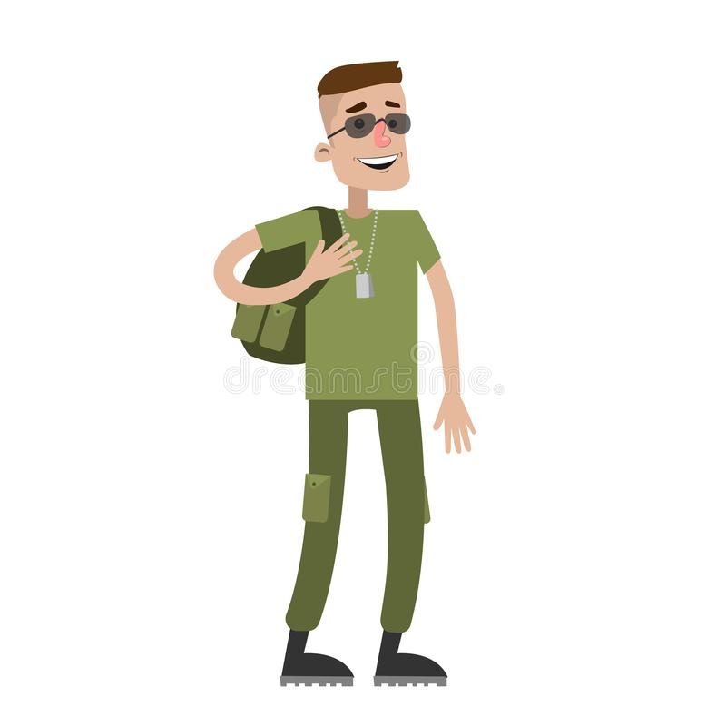 Soldier out of duty. Soldier out of duty in camouflage on white background vector illustration
