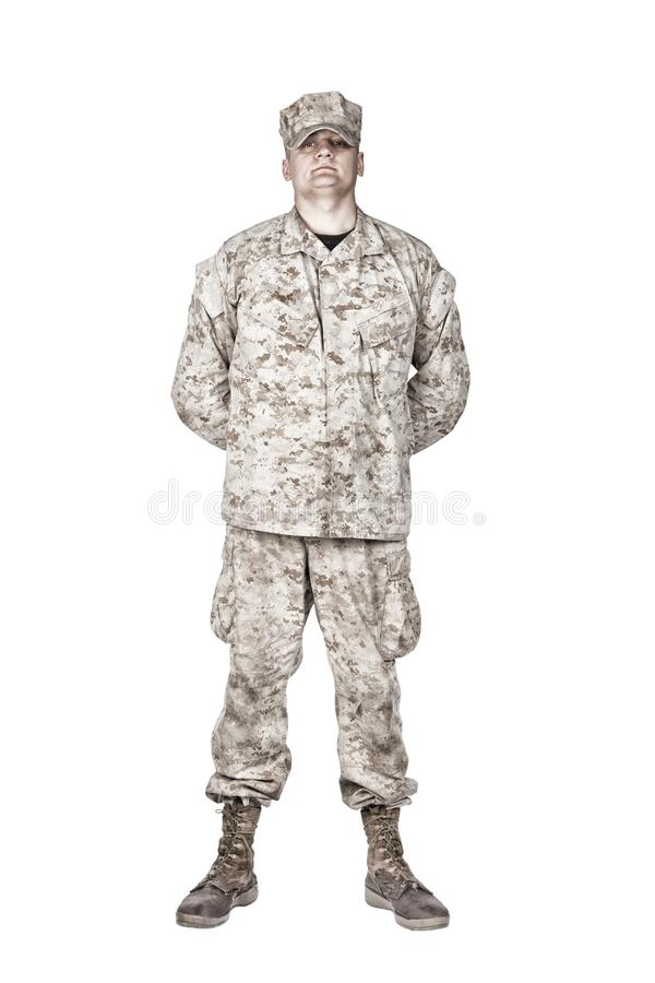Soldier in parade rest position front view shoot stock photos