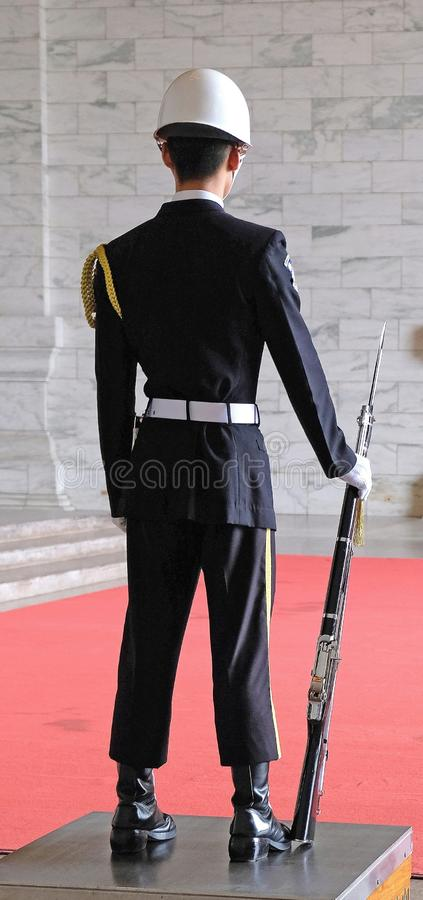 Soldier in parade uniform at the monument to the president Chiang Kai-shek stock photo
