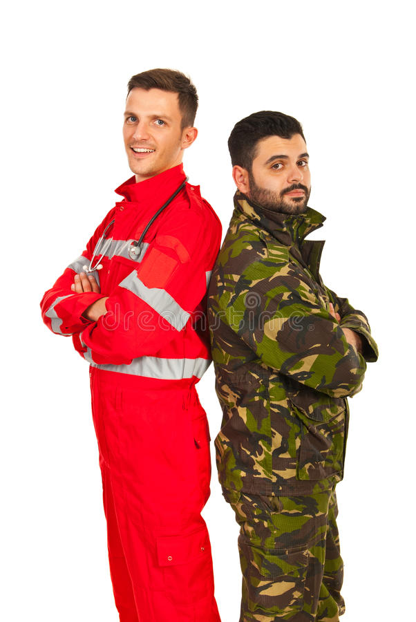 Soldier and paramedic. Men standing back to back with arms folded isolated on white background stock photo