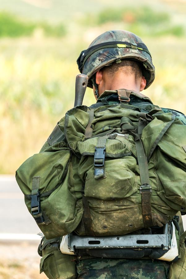 Soldier ready for war combat stock images