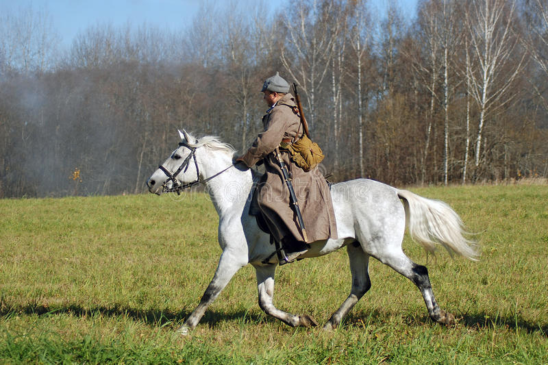 Download A Soldier-reenactor Rides A White Horse Editorial Photography - Image: 34402367